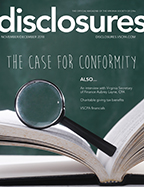 Cover of November/December 2018 issue of Disclosures magazine