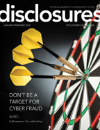 Cover of January/February 2018 issue of Disclosures