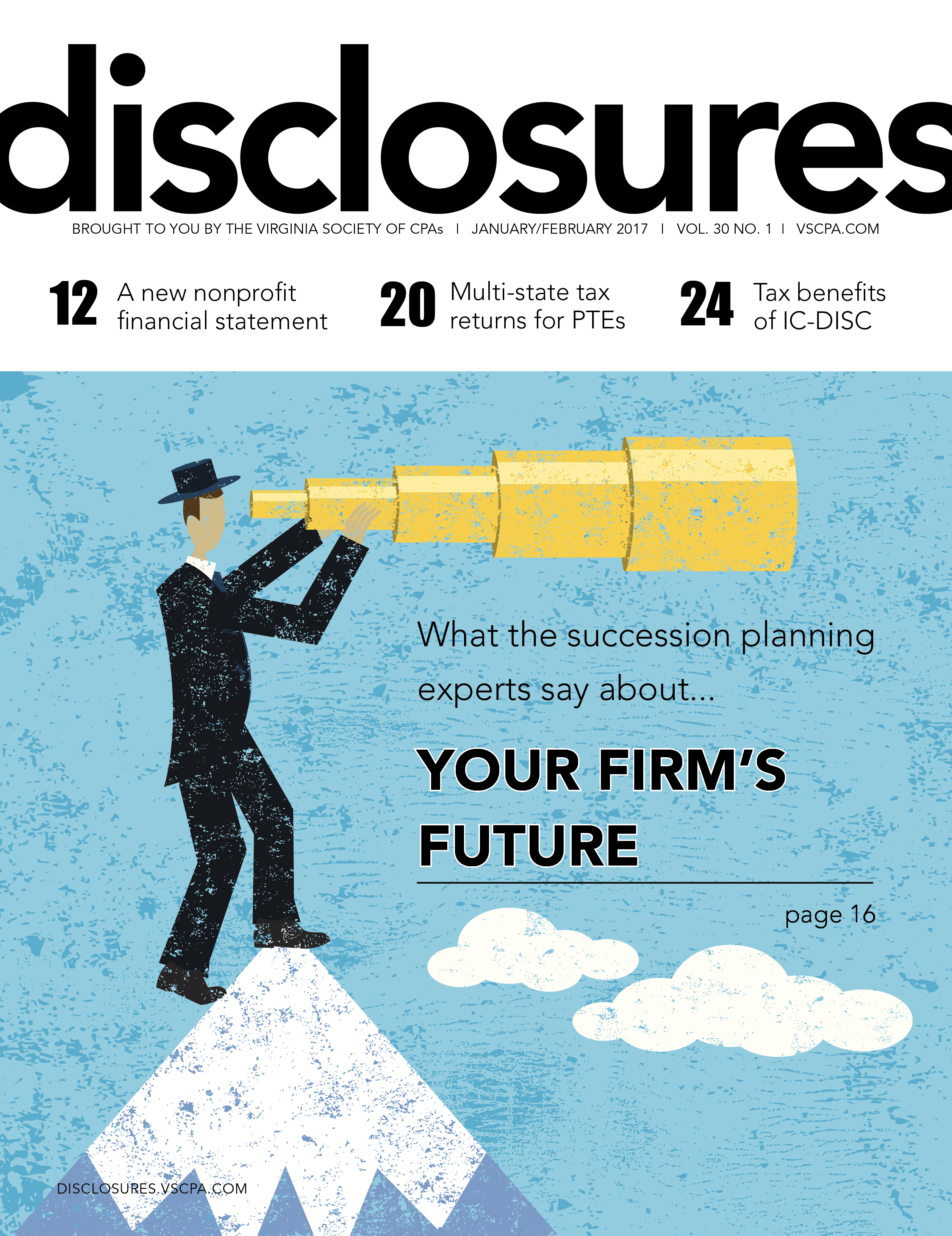 Cover of January/February 2017 issue of Disclosures