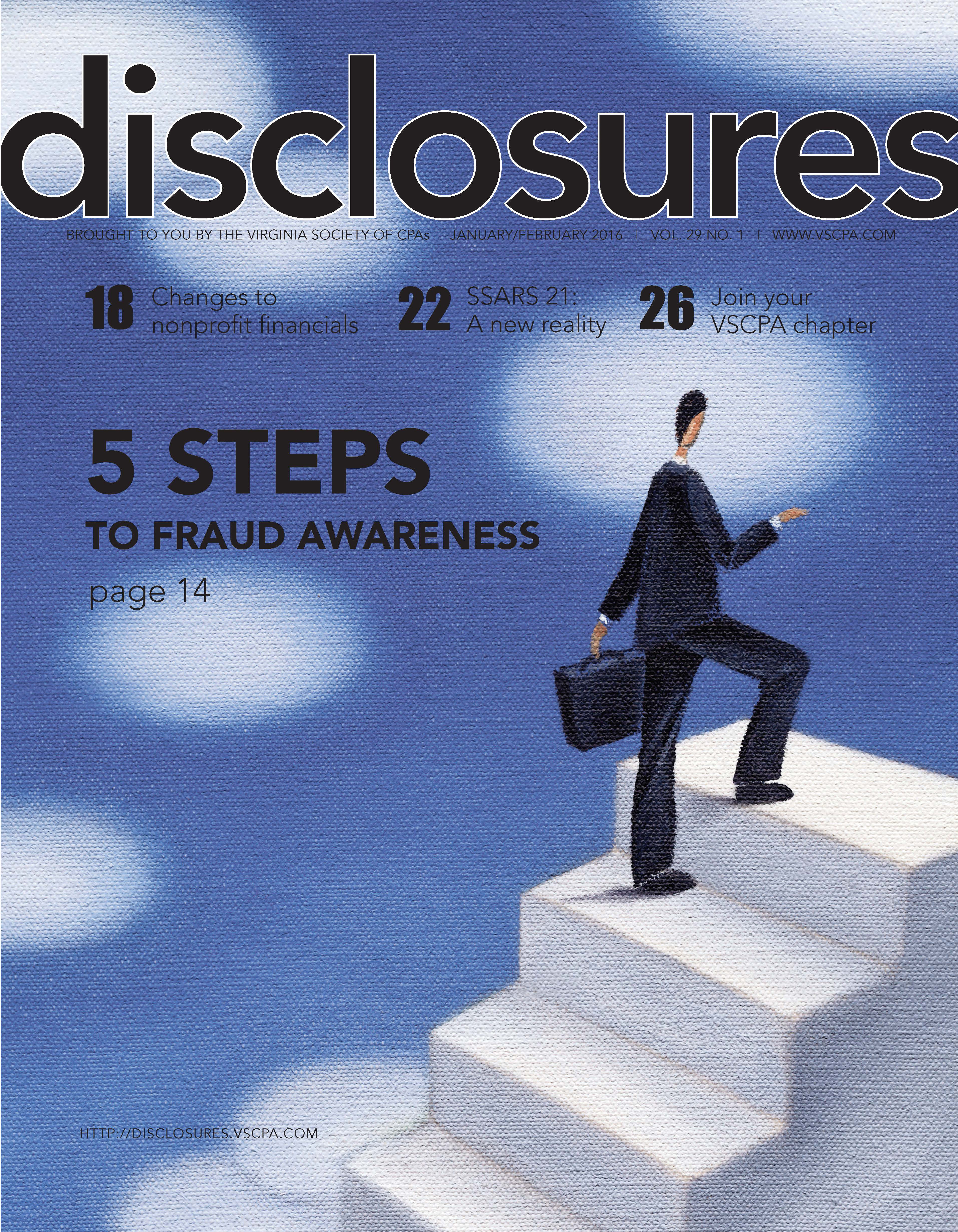 Cover of January/February 2016 issue of Disclosures