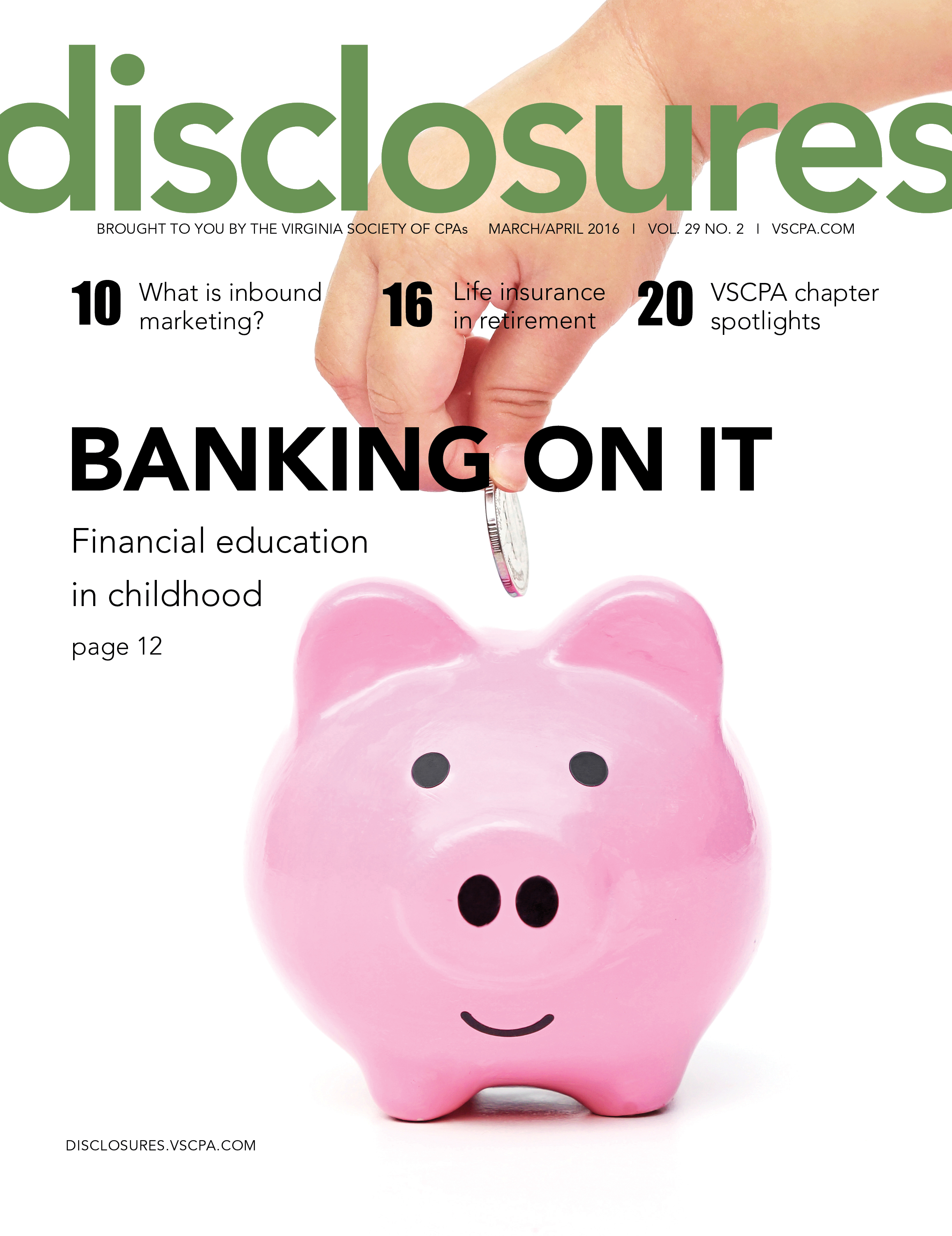 Cover of March/April 2016 issue of Disclosures