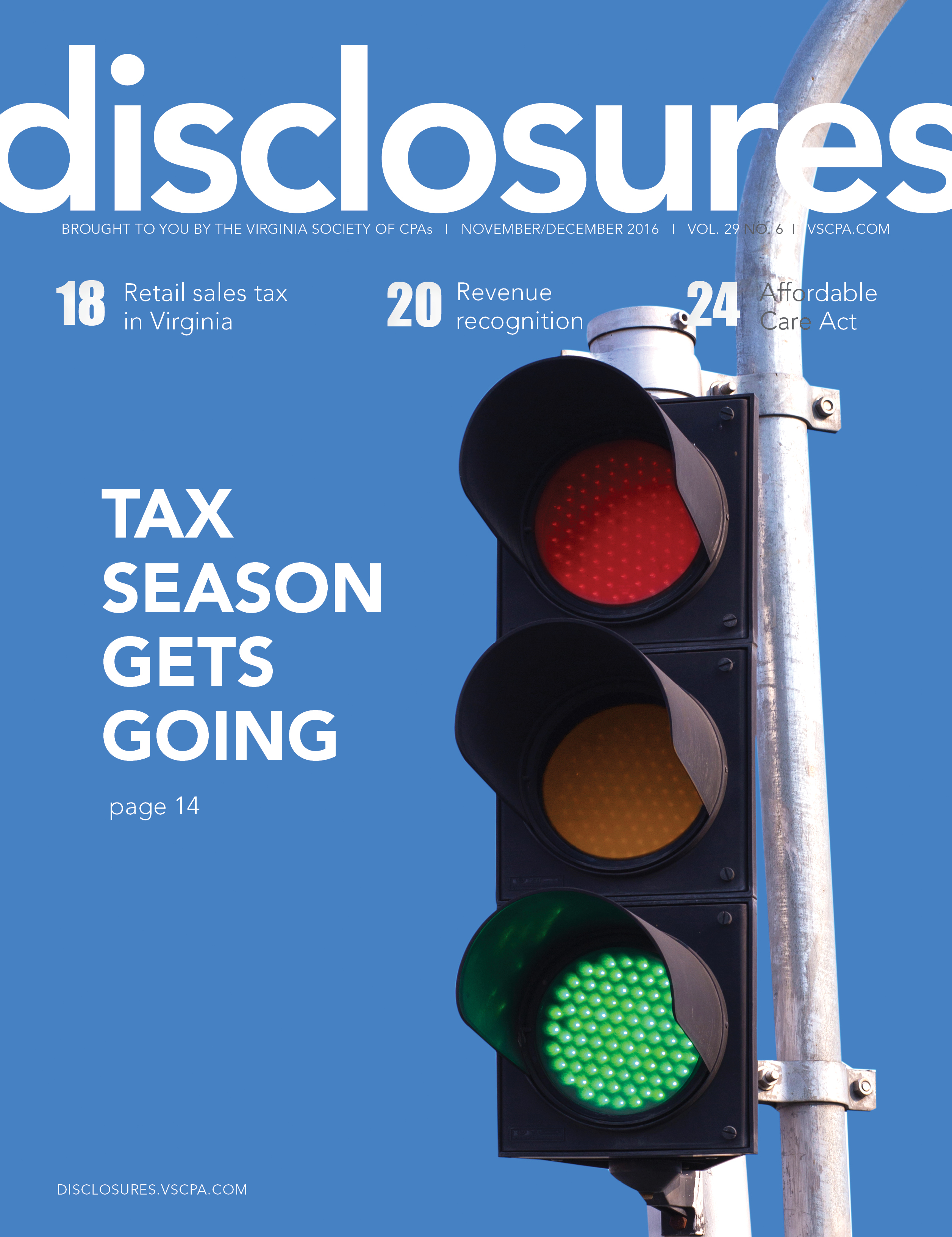 Cover of November/December 2016 issue of Disclosures