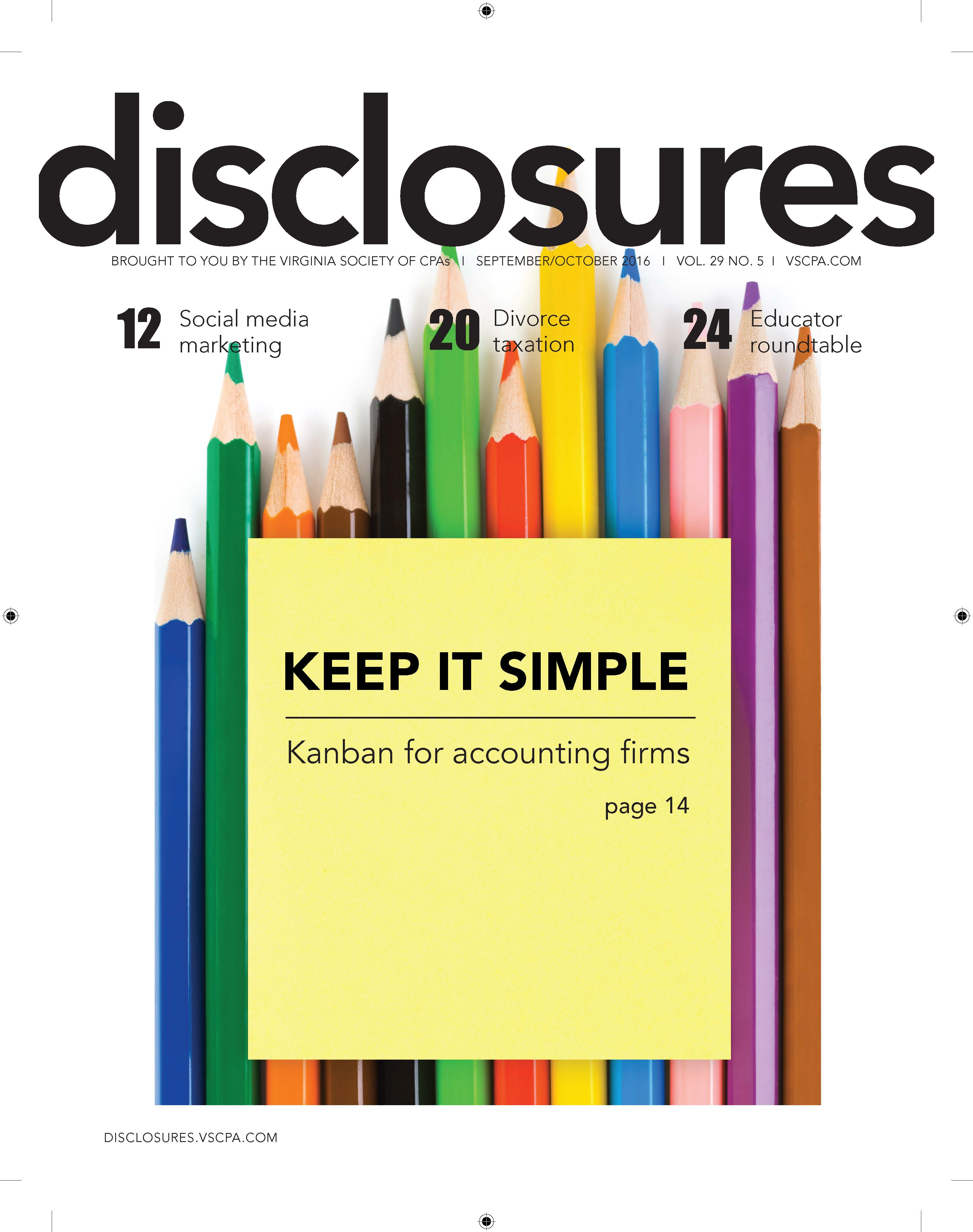 Cover of September/October 2016 issue of Disclosures
