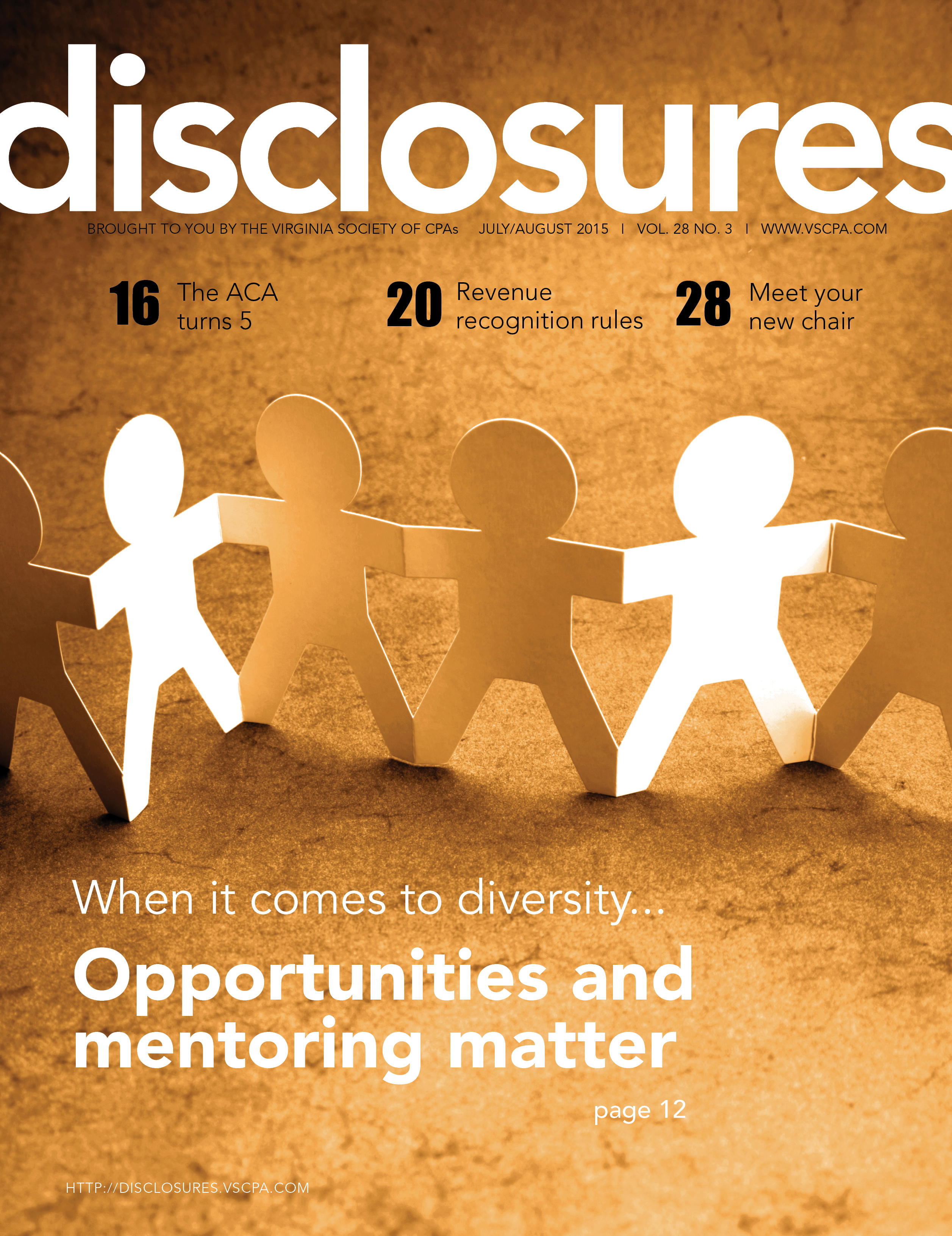 Cover of July/August 2015 issue of Disclosures
