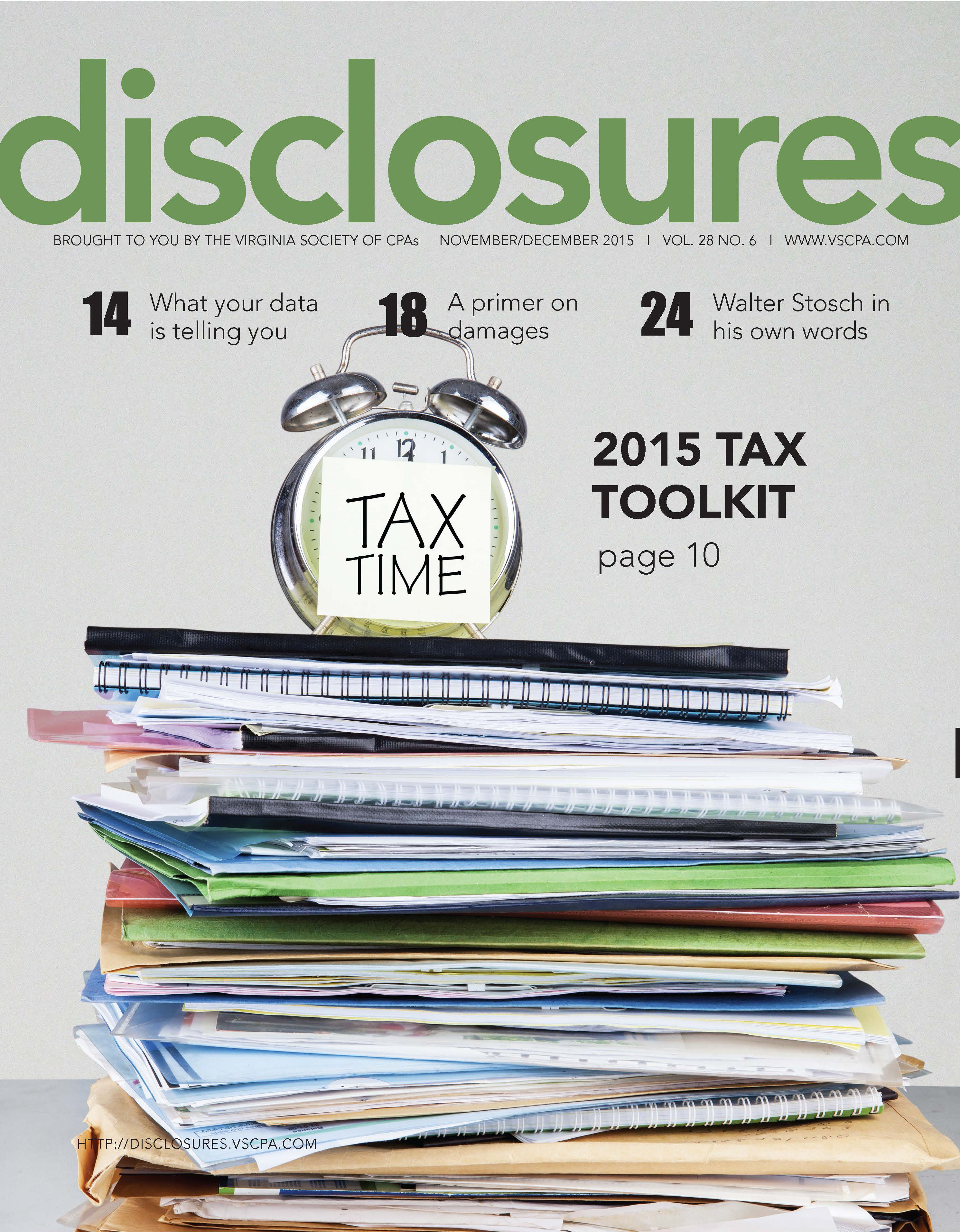 Cover of November/December 2015 issue of Disclosures